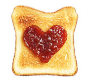 Toast with jam in shape of hearts Stock Photo
