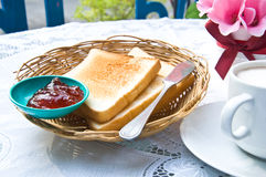 Toast and jam strawberry Royalty Free Stock Image