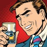 Toast jubelt Whisky mit Eis, eleganter Mann zu lizenzfreie abbildung