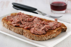 Toast with liver pate Stock Photos