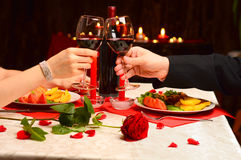 Toast for love. Toast at a romantic dinner Stock Image