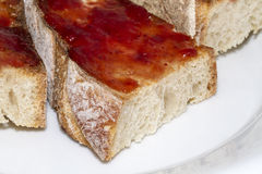 Toast. Made of jam and butter Stock Photography