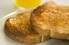 Toast and marmalade. Breakfast of wholemeal toast and marmalade Stock Photo