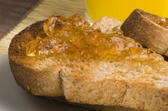 Toast and marmalade Royalty Free Stock Photos