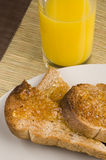 Toast and marmalade. Breakfast of wholemeal toast and marmalade Royalty Free Stock Photo