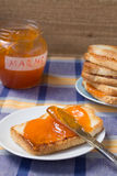 Toast with marmalade Stock Photography