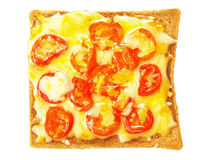 Toast with melted cheese and cherry tomatoes Royalty Free Stock Photo