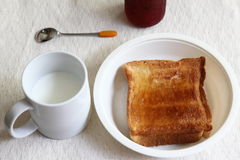 Toast and milk. I was shooting in the state of the breakfast in the morning Stock Photography