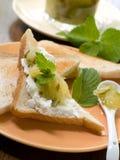 Toast mit Apfelmarmelade Lizenzfreies Stockbild