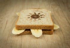 Toast mit Banane und Schokolade lizenzfreies stockfoto