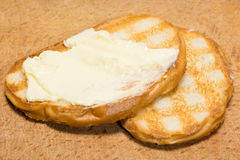 Toast mit Butter Stockfotos