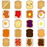 Toast mit der unterschiedlichen Spitze getrennt auf Weiß Stockfotografie