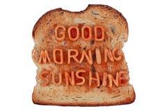 Toast mit einer Meldung Stockbild