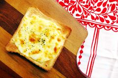 Toast with mozarella cheese & herbs Stock Photo