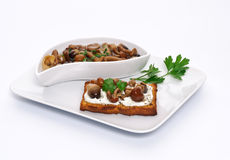Toast with mushrooms Stock Photography