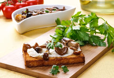 Toast with mushrooms and cheese Stock Photos