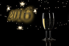 2016 toast. 2016 new year toast champagne Stock Images