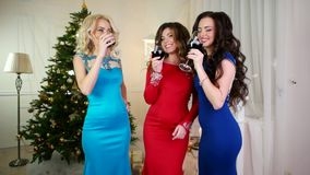 Toast, New Year's Cheers a group of girls near the Christmas tree, drink alcohol from of wine glasses, gorgeous young stock video footage