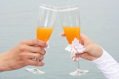 Toast of a newly-married couple Stock Photo