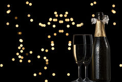 Toast with night light. Toast champagne in the night Stock Photography