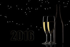 Toast with night light. Happy new year 2016 stars Royalty Free Stock Photo