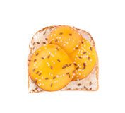 Toast with peach fruit for breakfast meal. Royalty Free Stock Photo