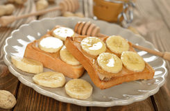 Toast with peanut butter and banana Royalty Free Stock Photo