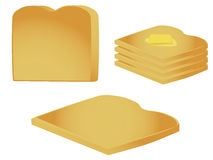 Toast pieces and stack. Pieces of toast isolated on a white background stock illustration