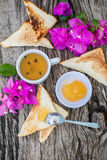 Toast with pineapple jam and tea. Breakfast Rustic Royalty Free Stock Photography