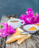 Toast with pineapple jam and tea. Breakfast Rustic Royalty Free Stock Photo