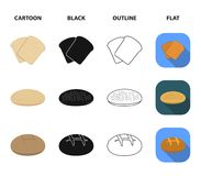 Toast, pizza stock, ruffed loaf, round rye.Bread set collection icons in cartoon,black,outline,flat style vector symbol. Stock illustration royalty free illustration