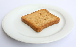 Toast on a plate 01. Toast on a white plate Royalty Free Stock Images