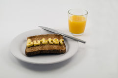 Toast on plate with words butter Stock Photo