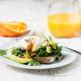 Toast and Poached Egg with Green Salad, Avocado and Peas Royalty Free Stock Photo