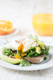 Toast and Poached Egg with Green Salad, Avocado and Peas Royalty Free Stock Photos