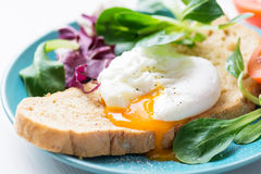 Toast with poached egg and green salad, close up Royalty Free Stock Images