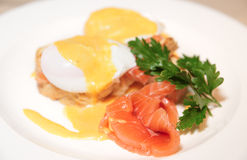 Toast with poached egg and salmon Stock Image