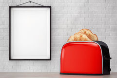 Toast popping out of Vintage Red Toaster in front of Brick Wall Royalty Free Stock Images