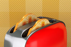 Toast popping out of Vintage Red Toaster Stock Photography