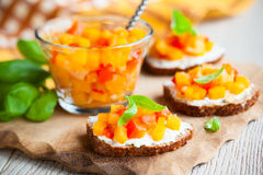 Toast with pumpkin chutney Royalty Free Stock Photo