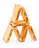 Toast pyramid. Several pieces of golden brown toast arranged in a pyramid shape.  White background Royalty Free Stock Images