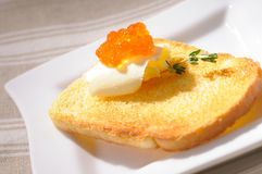 Toast with red caviar Stock Photo
