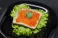 Toast with red caviar and green salad stock image