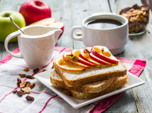 Toast with ricotta, apple and dried fruit, coffee, breakfast Stock Photos