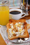 Toast with ricotta at breakfast Royalty Free Stock Photos