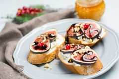 Toast with ricotta and figs Stock Photo