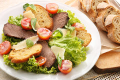 Toast with roast beef cheese and vegetables Royalty Free Stock Photo