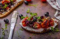 Toast with roasted vegetable Royalty Free Stock Photos