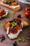 Toast with roasted vegetable Royalty Free Stock Images