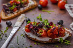 Toast with roasted vegetable Royalty Free Stock Image